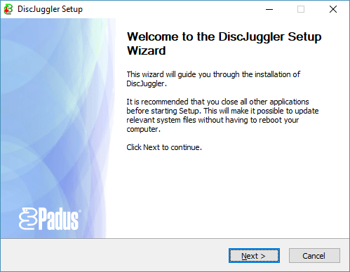 Installing Padus DiscJuggler 6.00.1400 under Windows 10