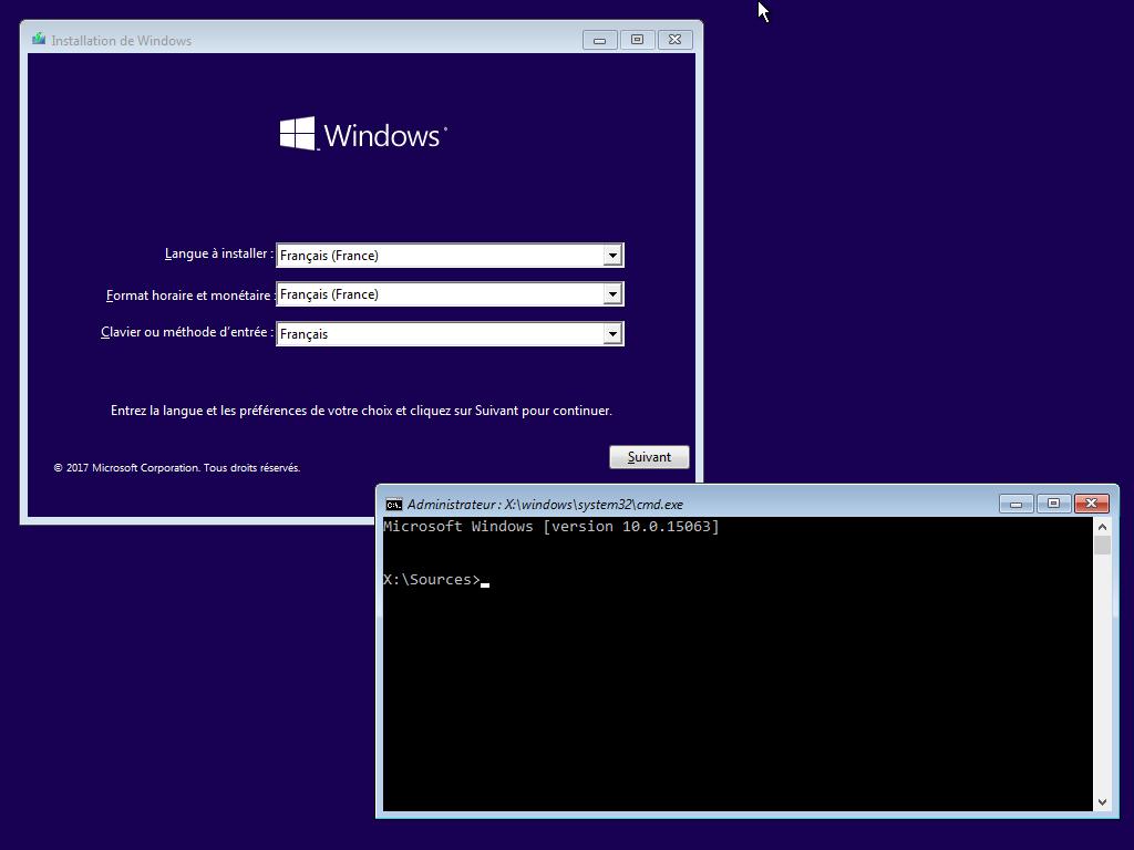 Ouverture de l'Invite de commandes depuis le média d'installation de Windows 10
